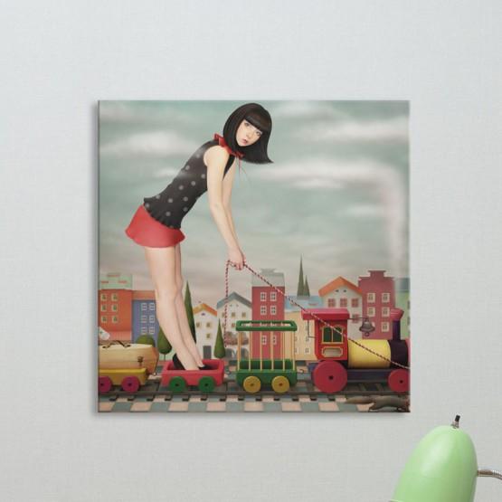 Tableau Fille au petit train Tableaux Enfant Gali Art