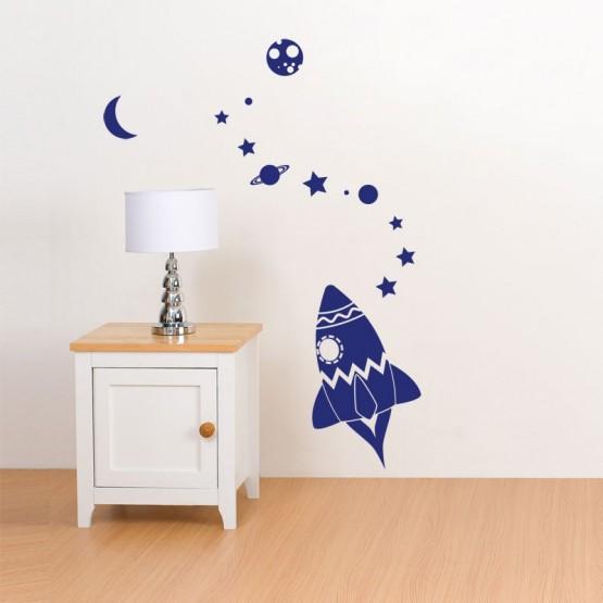 Stickers Enfant - Fusée dans l'Espace Stickers Chambres Enfants Gali Art