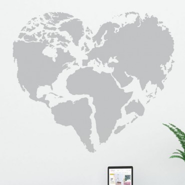 Sticker Planisphère Coeur