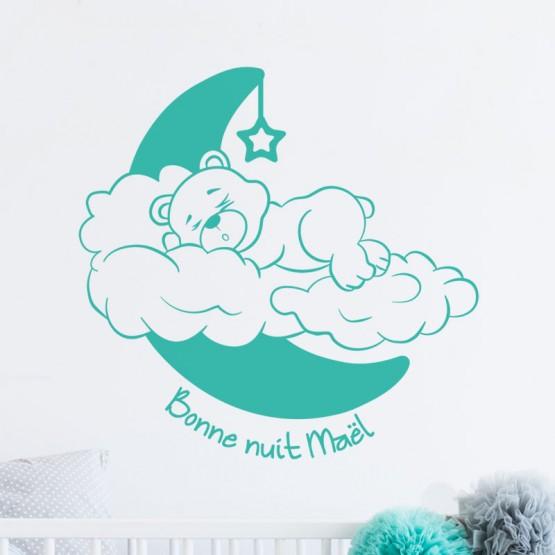 Stickers Ourson Bonne Nuit avec prénom Stickers Chambres Enfants Gali Art