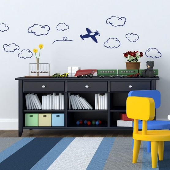 Stickers Avion et nuages Stickers Chambres Enfants Gali Art