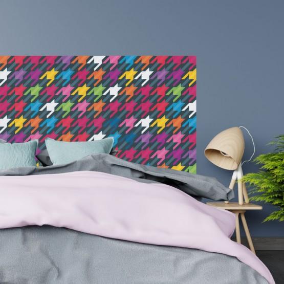 Tête de Lit Pied de Poule Coloré Stickers Têtes de Lit Gali Art