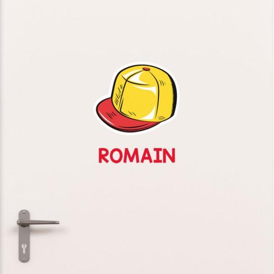 Kit Porte Casquette avec prénom Stickers de Porte Personnalisé Gali Art