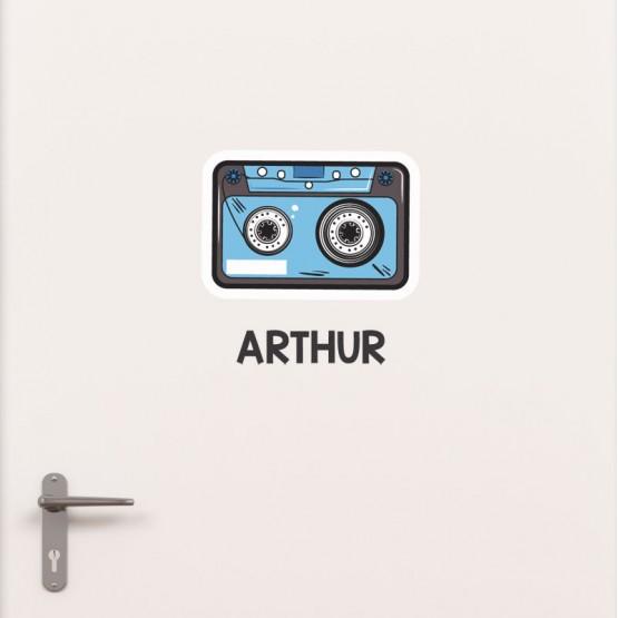 Kit Porte Cassette Audio avec prénom Stickers de Porte Personnalisé Gali Art