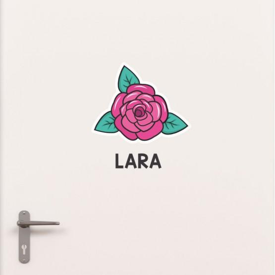 Kit Porte Rose avec prénom Stickers de Porte Personnalisé Gali Art