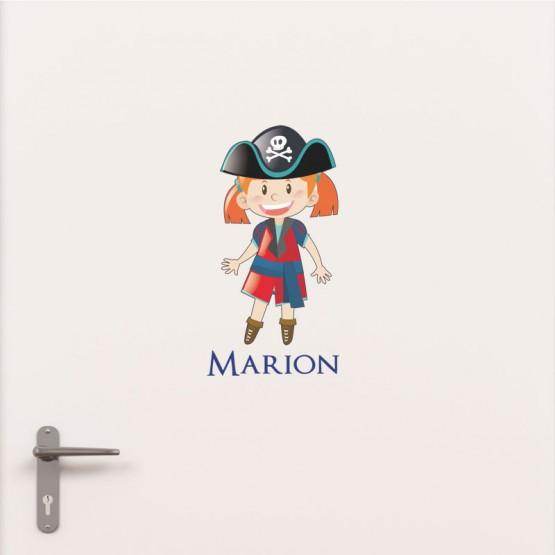 Kit Porte Petite Fille Pirate avec prénom Stickers de Porte Personnalisé Gali Art
