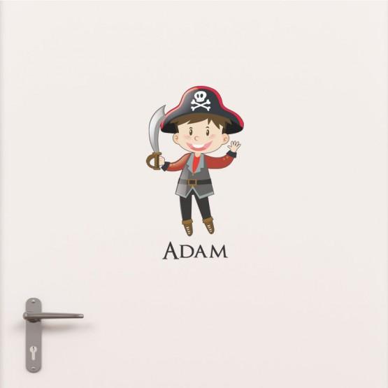 Pirate Dimensions 25 x 24,4 cm Adh/ésif Sticker De Porte Personnalisable avec Le Pr/énom de Votre Enfant