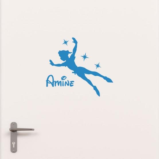Kit Porte Peter Pan avec prénom Stickers de Porte Personnalisé Gali Art