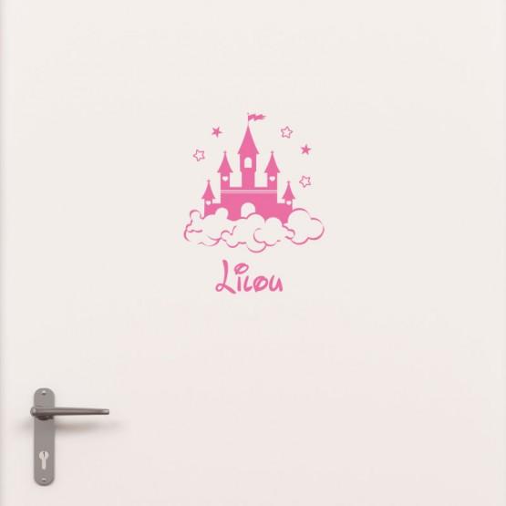 Kit Porte Chateau de Princesse avec prénom Stickers de Porte Personnalisé Gali Art