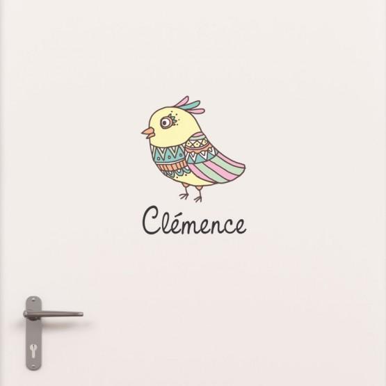 Kit Porte Oiseau avec prénom Stickers de Porte Personnalisé Gali Art