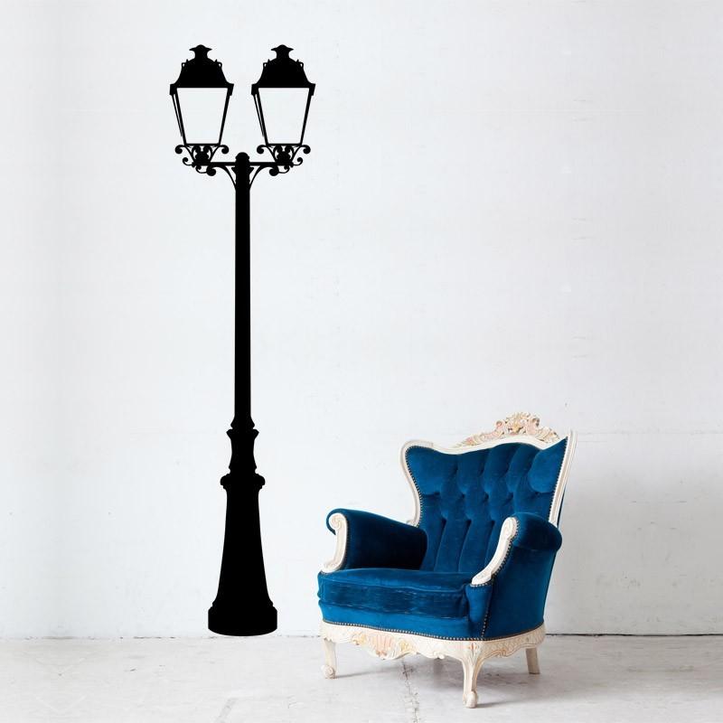 sticker mural double lampadaire parisien d coration murale. Black Bedroom Furniture Sets. Home Design Ideas
