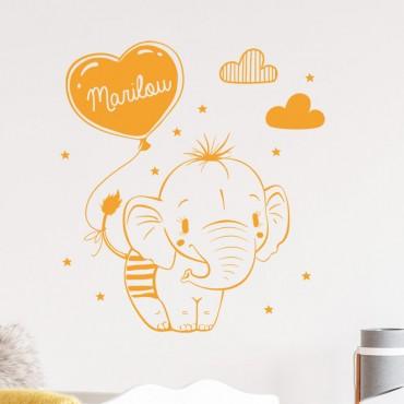 Décor mural bébé éléphant avec prénom