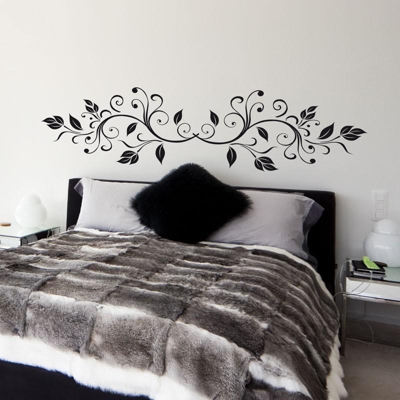 sticker t te de lit feuilles d coration arabesque. Black Bedroom Furniture Sets. Home Design Ideas