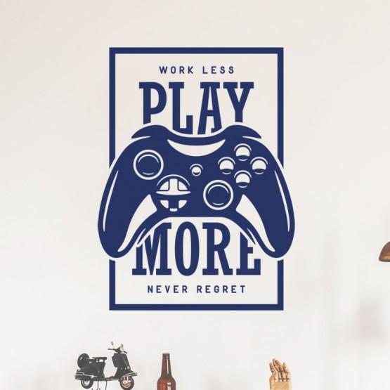 Décoration murale Play More avec manette de jeu Stickers Pop Gali Art