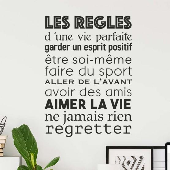 Sticker Texte Les Regles De La Vie Parfaite Decoration Murale Citation Positive Gali Art Com