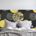 Tête de Lit Cercles et Paillettes d'Or Stickers Têtes de Lit Gali Art
