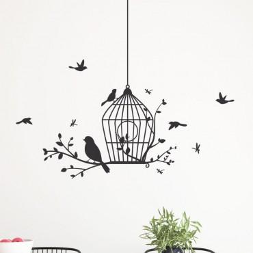 Décor mural oiseaux avec cage