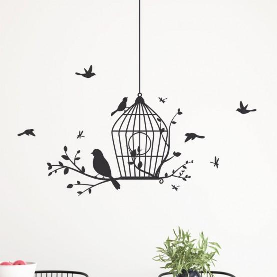 Décor mural oiseaux avec cage Stickers Nature Gali Art