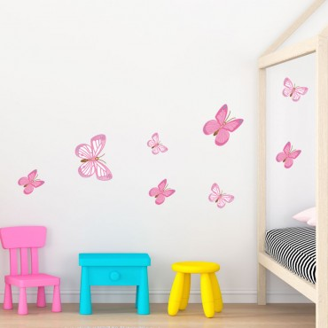 Stickers Papillons Roses