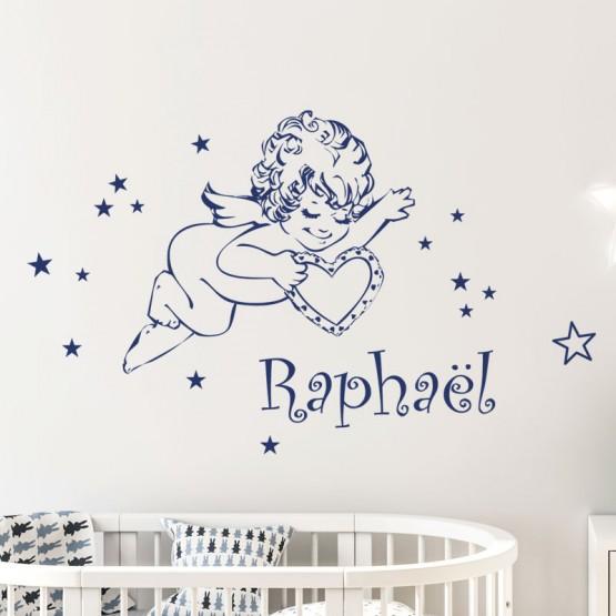 Sticker Angelot Personnalisé avec Prénom Stickers Chambres Enfants Gali Art