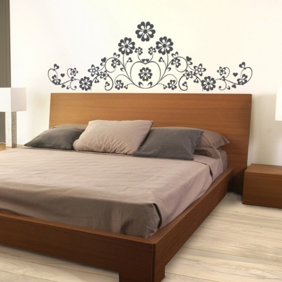 sticker t te de lit marguerite d coration florale. Black Bedroom Furniture Sets. Home Design Ideas