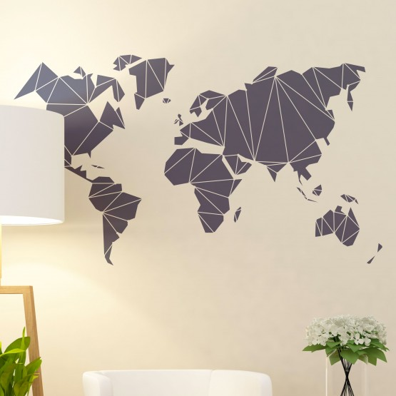 Sticker Planisphere Polygonale Stickers Voyage Gali Art
