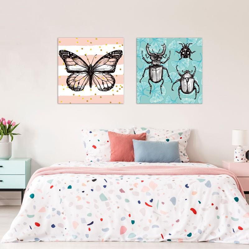 Tableau Papillon et confettis - Décoration murale Naturaliste   GALI-ART.com