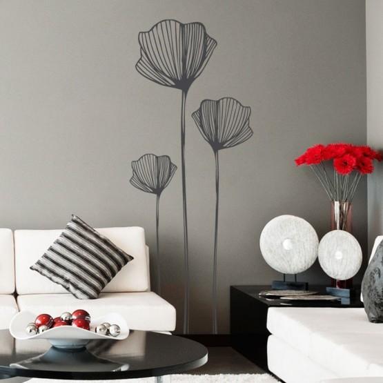 stickers fleurs de coquelicots stickers muraux nature. Black Bedroom Furniture Sets. Home Design Ideas