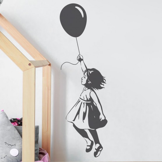 Stickers Petit Fille au Ballon Stickers Silhouettes Gali Art
