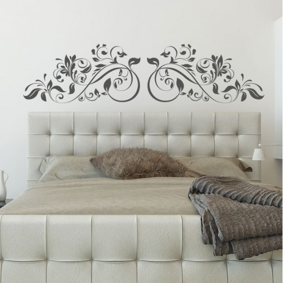 sticker t te de lit ornement v g tal d coration chambre arabesque. Black Bedroom Furniture Sets. Home Design Ideas