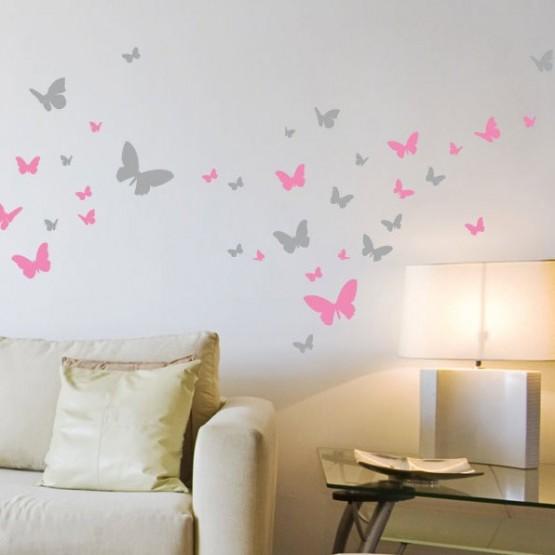 Lot de 52 Stickers Papillons (2 couleurs)