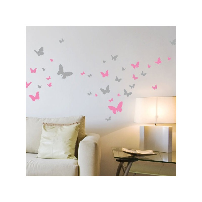 Lot de 52 stickers papillons 2 couleurs d coration for Stickers muraux pour couloir