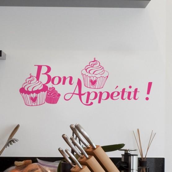 sticker bon app tit cupcakes d coration pour la cuisine. Black Bedroom Furniture Sets. Home Design Ideas