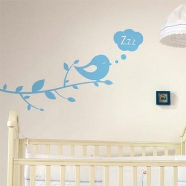 Sticker Branche & Oiseau Bonne Nuit