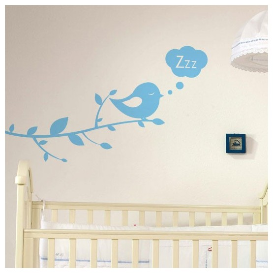 Sticker Branche & Oiseau Bonne Nuit Stickers Chambres Enfants Gali Art