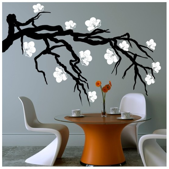 Stickers branche de cerisier japonais d coration nature zen - Stickers branche d arbre ...