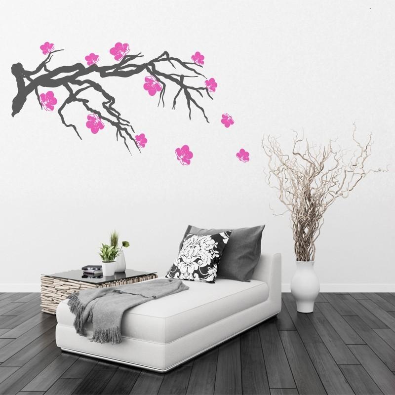 stickers branche de cerisier japonais d coration nature zen. Black Bedroom Furniture Sets. Home Design Ideas