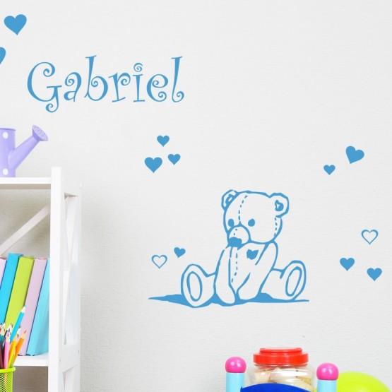 Sticker Petit Ours avec Prénom Stickers Chambres Enfants Gali Art