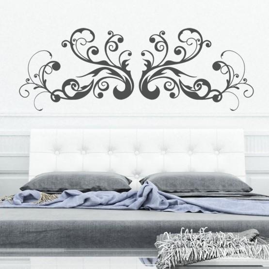 sticker t te de lit arabesque swirl d coration murale adh sive pour chambre coucher. Black Bedroom Furniture Sets. Home Design Ideas