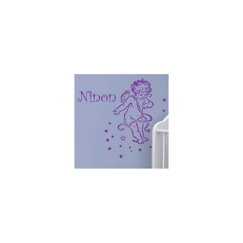 sticker ange avec pr 233 nom d 233 coration chambre enfant