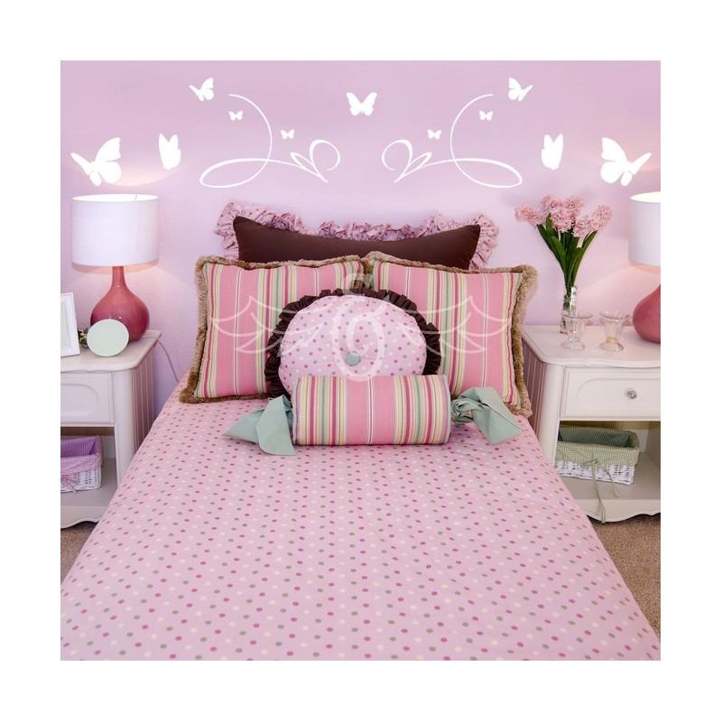 sticker t te de lit papillons d coration murale chambre enfant. Black Bedroom Furniture Sets. Home Design Ideas