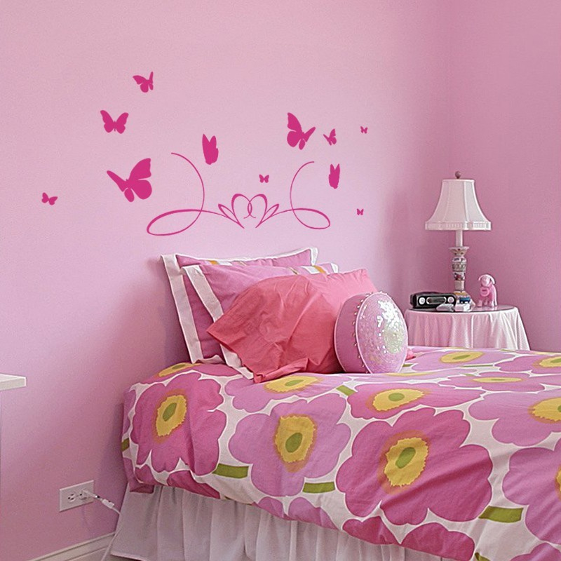 sticker t te de lit papillons d coration murale chambre enfant. Black Bedroom Furniture Sets. Home Design Ideas