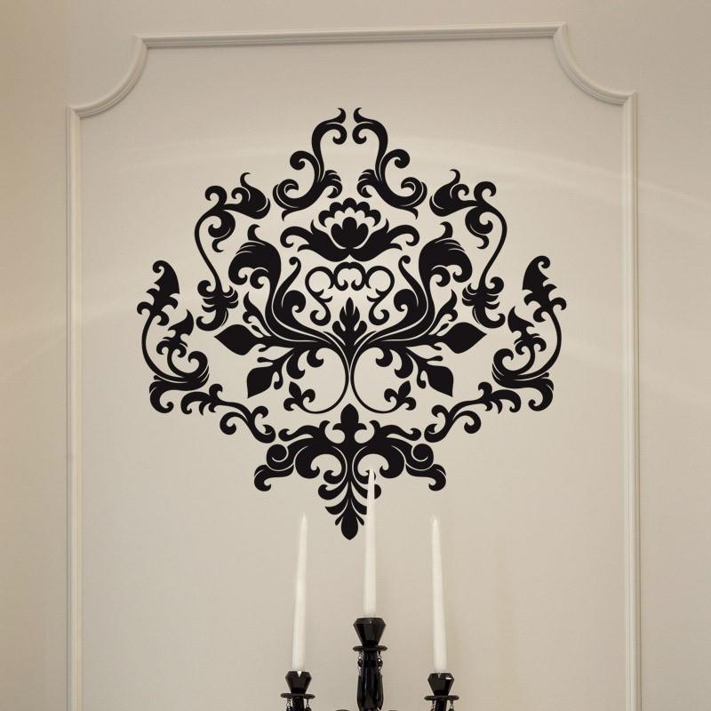 sticker motif floral pour d coration style baroque moderne. Black Bedroom Furniture Sets. Home Design Ideas