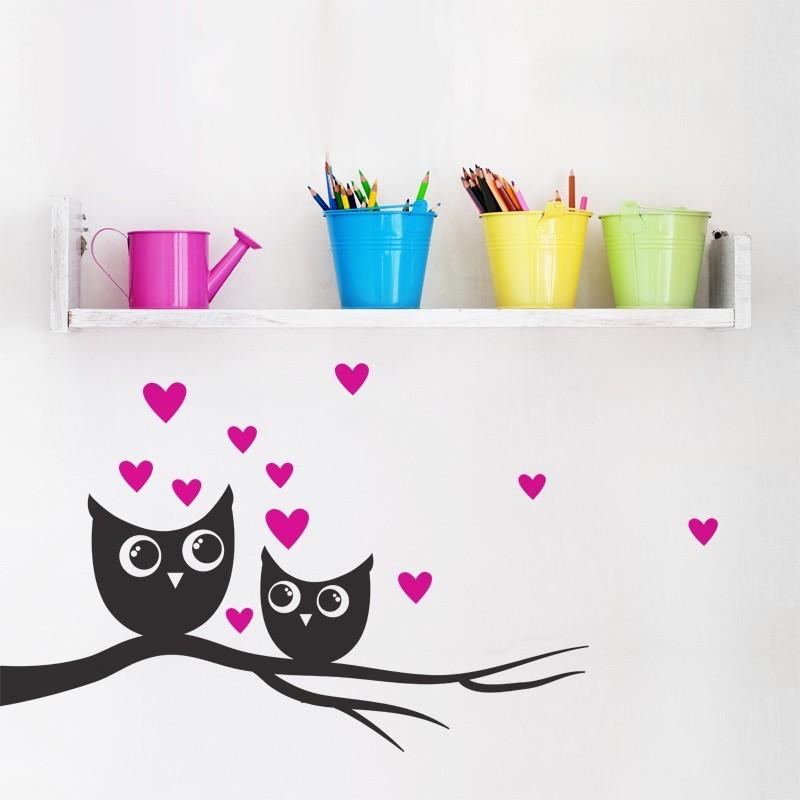 sticker hiboux sur branche adh sif 2 couleurs maman et b b d coration enfant. Black Bedroom Furniture Sets. Home Design Ideas
