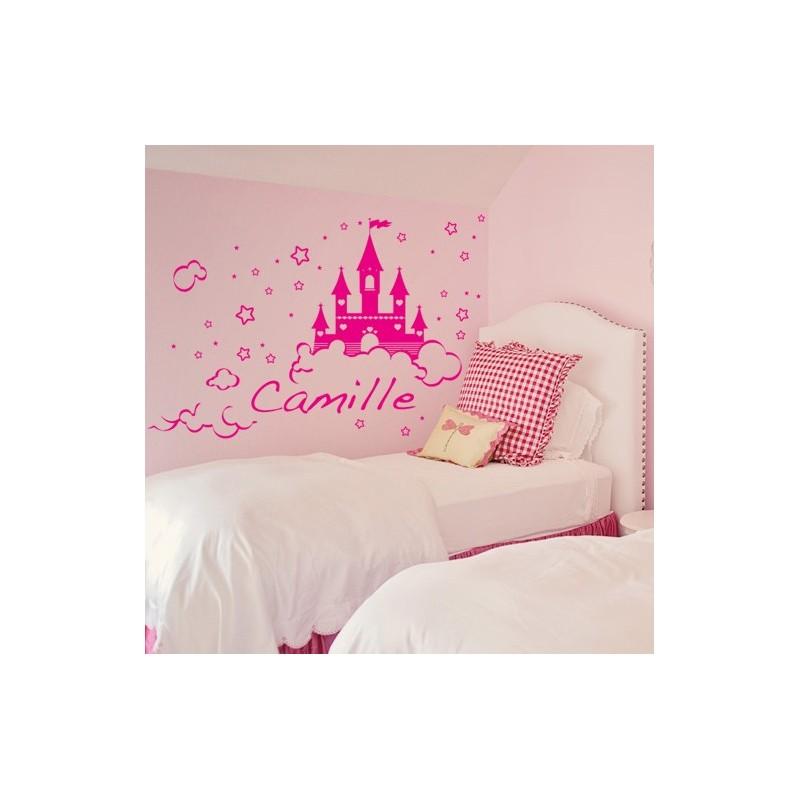 Stickers Château de Princesse avec prénom - Décoration Chambre Fille