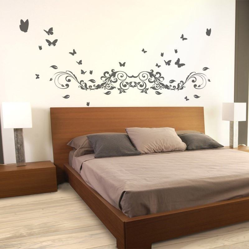 sticker t te de lit estivale avec papillons d coration chambre choucher. Black Bedroom Furniture Sets. Home Design Ideas