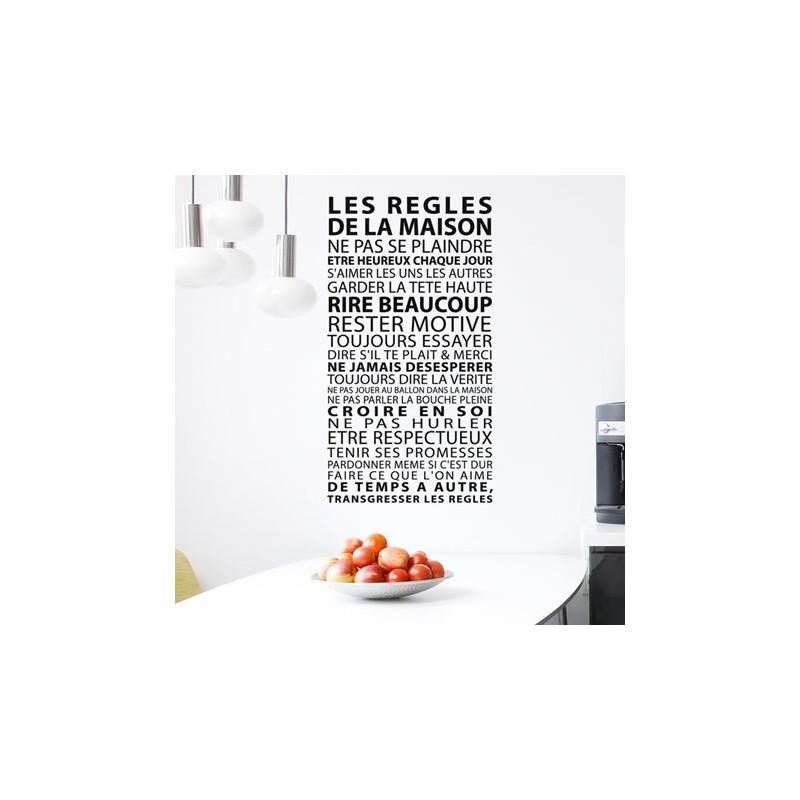Sticker les r gles de la maison d coration murale design - Stickers muraux les regles de la maison ...