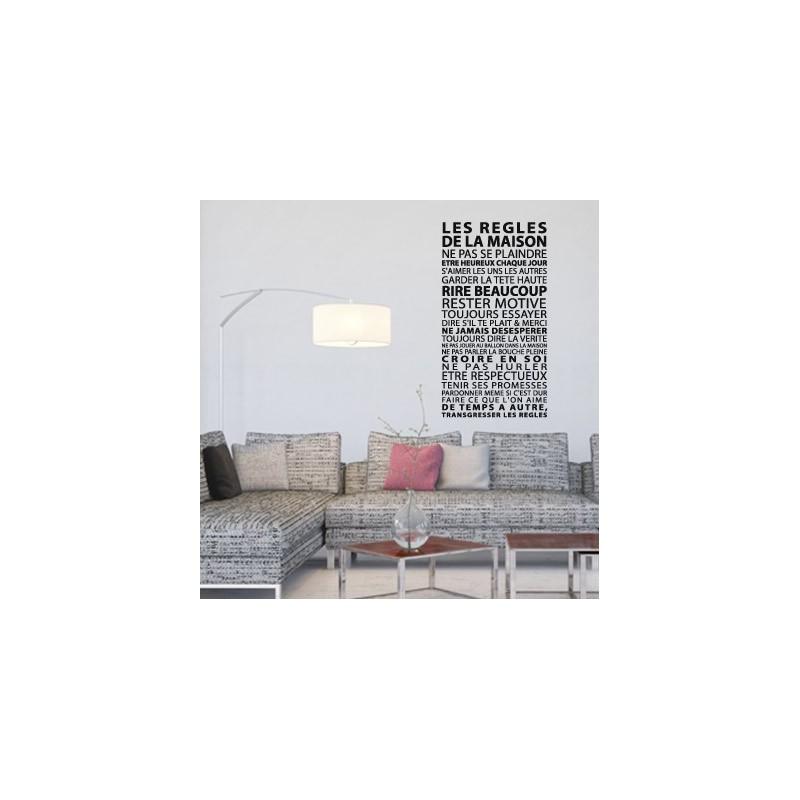 sticker les r gles de la maison d coration murale design. Black Bedroom Furniture Sets. Home Design Ideas