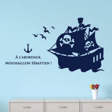 Sticker Bateau Pirate avec texte et Prénom