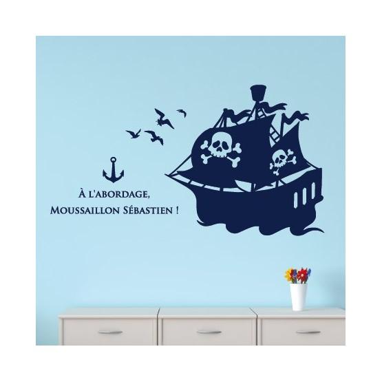 Sticker Bateau Pirate avec texte et Prénom Stickers Chambres Enfants Gali Art